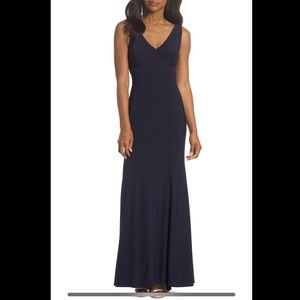 Vince Camuto Navy Blue Open Back Gown